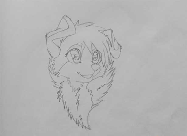 7028c8b0806e Learning to draw an anime dog with pencils – step 4