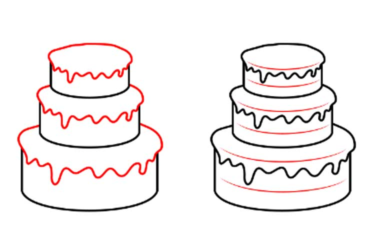 How to draw a pencil cake
