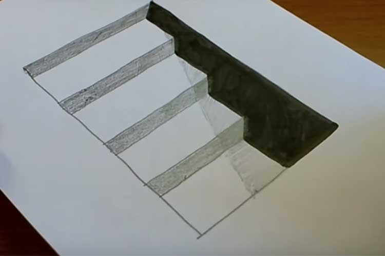 How to draw stairs: Front View and the side, Going Down, in Perspective