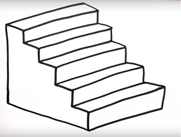 How To Draw Stairs Front View And The Side Going Down In Perspective