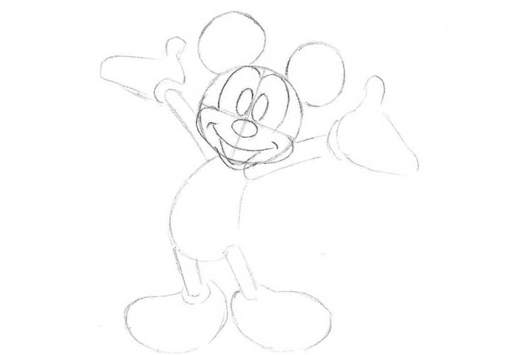 How To Draw Mickey Mouse Bright Pictures With Color In Pencil
