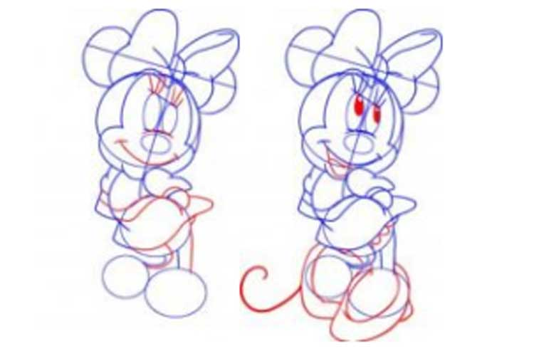 How to draw Minnie