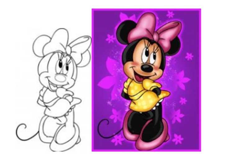 How to draw Minnie