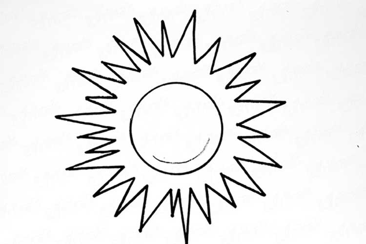 How to draw a Sun: With Face, Realistic, Step By Step