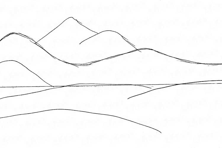 How To Draw Mountains With Pen On A Map Realistic And Easy Scenery