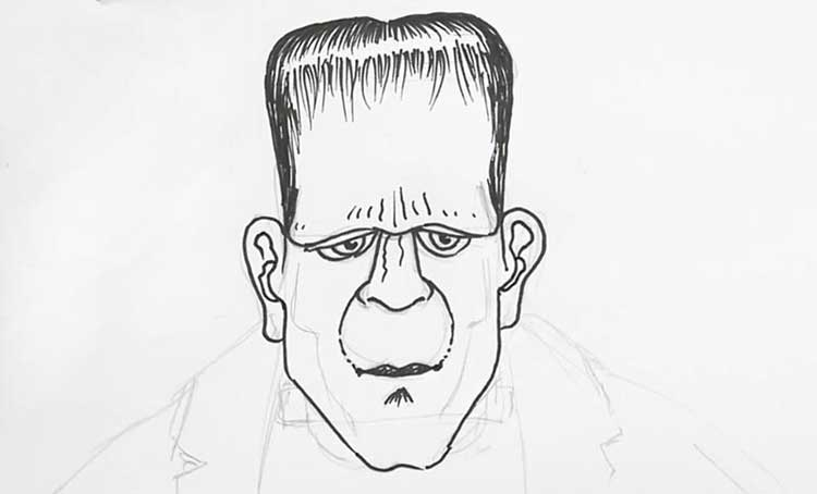 how to draw frankenstein