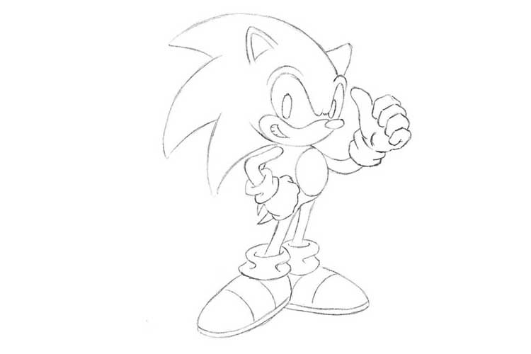 How To Draw Sonic Full Body Step By Step Easy Slow Characters