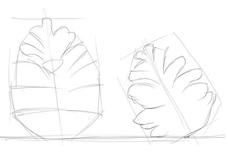 How to draw a pine cone