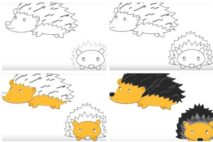 Hedgehog drawing easy