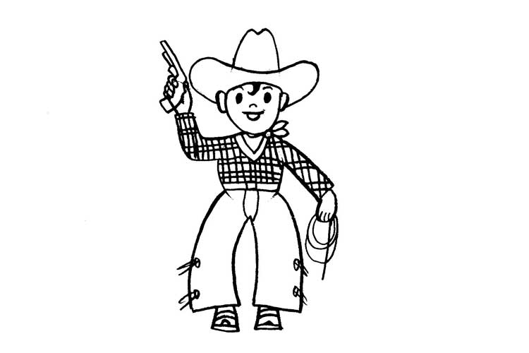 cowboy drawing step by step