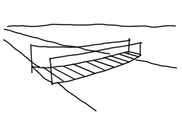 how to draw a bridge over a river